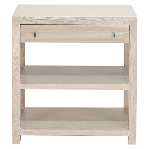 Worlds Away 1-Drawer Side Table with Acrylic Hardware – Cerused Oak