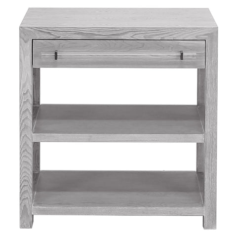 Worlds Away 1-Drawer Side Table with Acrylic Hardware – Grey Cerused Oak