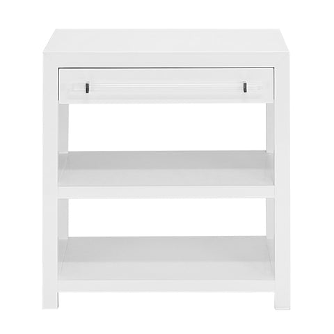 Worlds Away 1-Drawer Side Table with Acrylic Hardware – White Lacquer