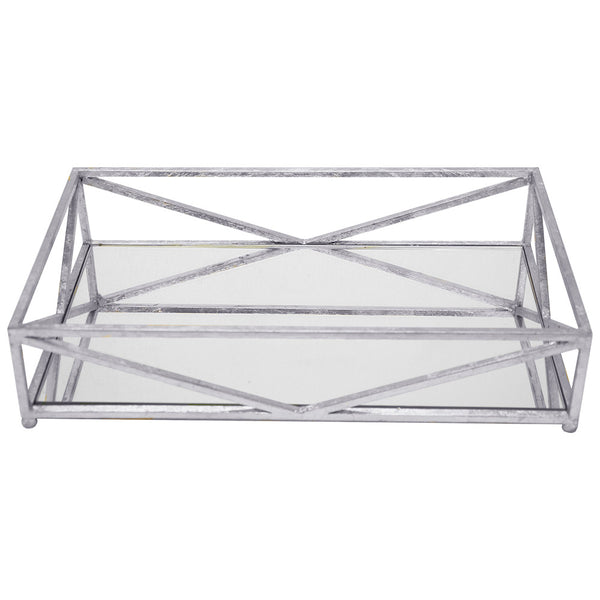 Worlds Away Iron Tray with Mirror – Silver Leaf