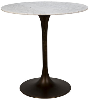 "Noir Laredo Bar Table 40"", Aged Brass, White Marble Top"