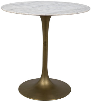 "Noir Laredo Bar Table 40"" - Antique Brass - White Marble Top"