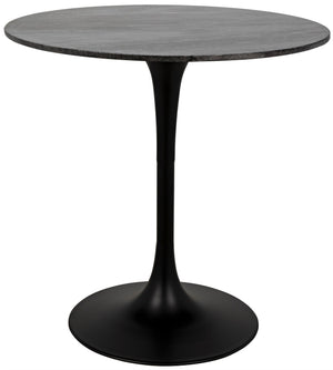 "Noir Laredo Bar Table 40"" - Black Metal with Black Stone Top"