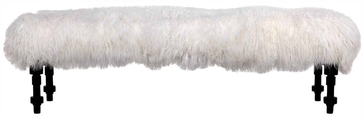 Noir Coco Bench with Lamb Fur