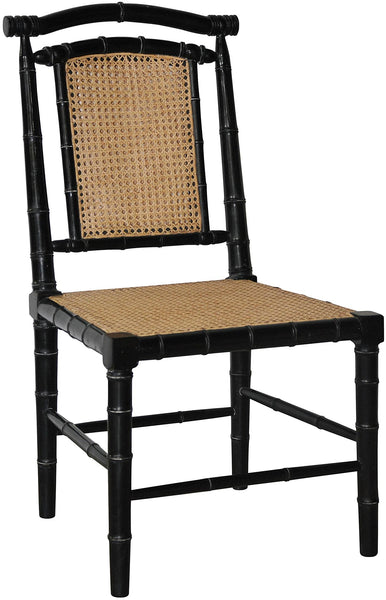 Noir Colonial Bamboo Side Chair - Black