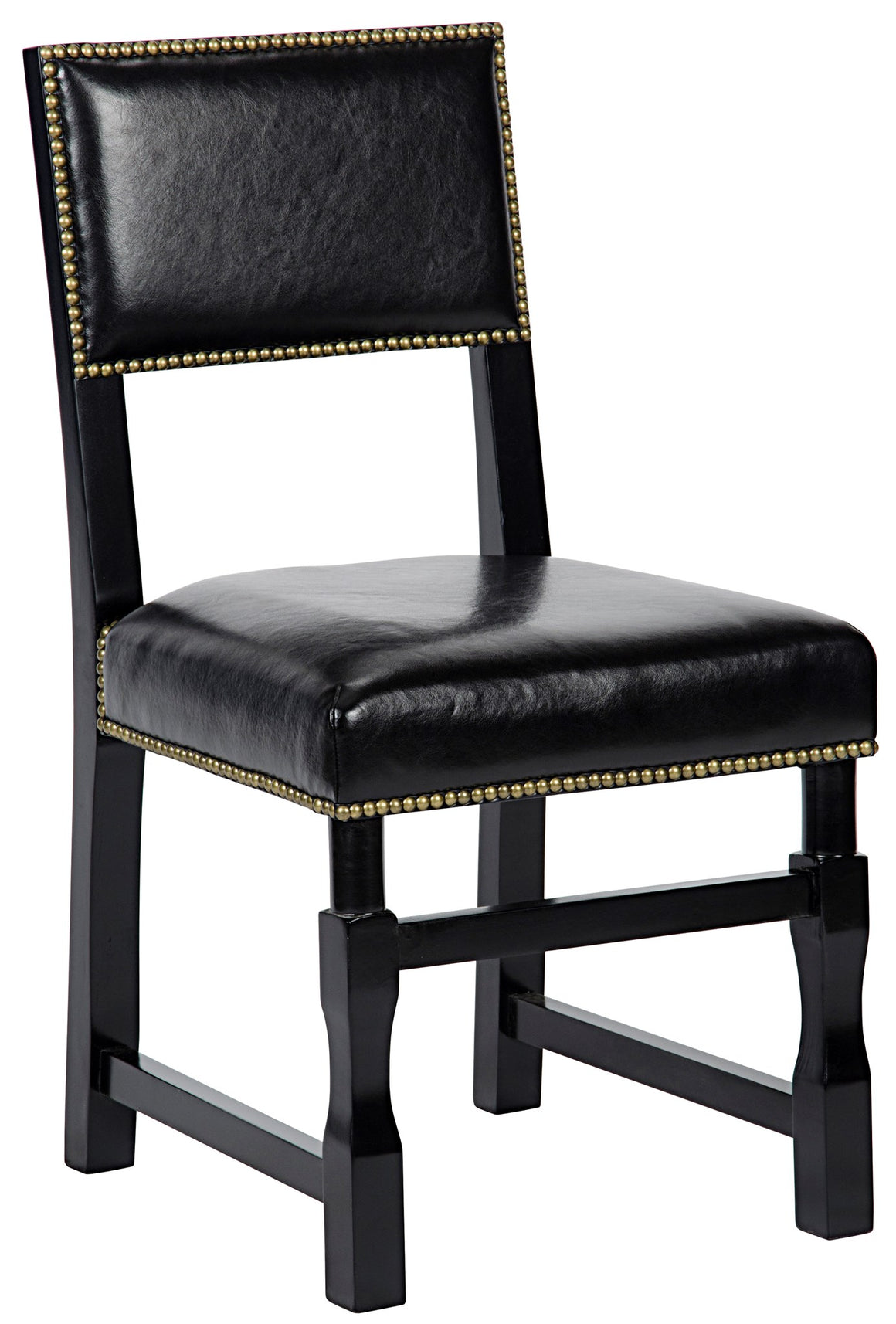 Noir Abadon Leather Side Chair w/Leather - Distressed Black