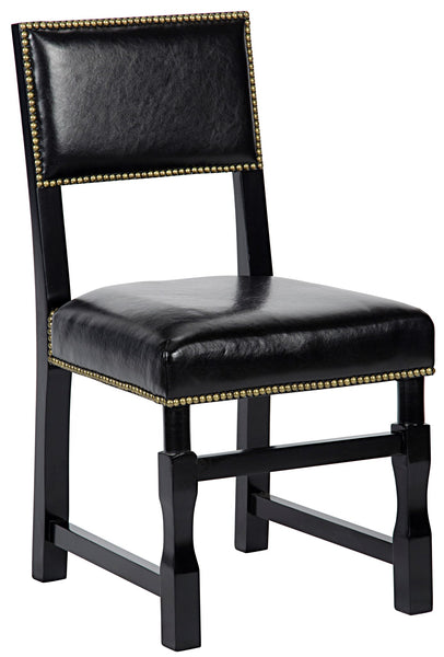 Noir Abadon Side Chair w/Leather, Distressed Black