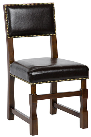 Noir Abadon Side Chair w/Leather, Distressed Brown