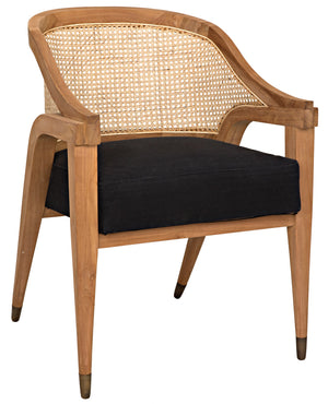 Noir Chloe Curved Caned Back Chair - Teak