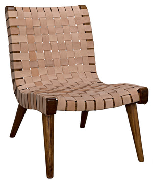 Noir Cohen Woven Chair - Teak and Leather