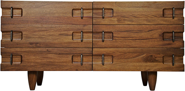 Noir David 6 Drawer Sideboard - Dark Walnut