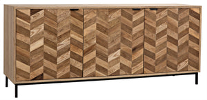 Noir Herringbone Sideboard - Washed & Dark Walnut