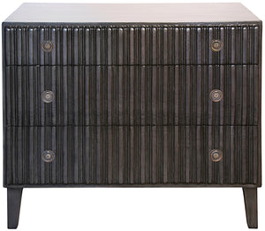 Noir Daryl 3 Drawer Carved Dresser - Pale Charcoal Brown