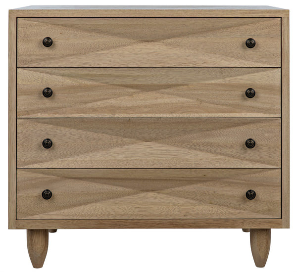 Noir 4 Drawer Diamond Chest - Washed Walnut