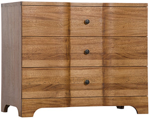 Noir Claudie 3 Drawer Ripple Front Chest - Walnut