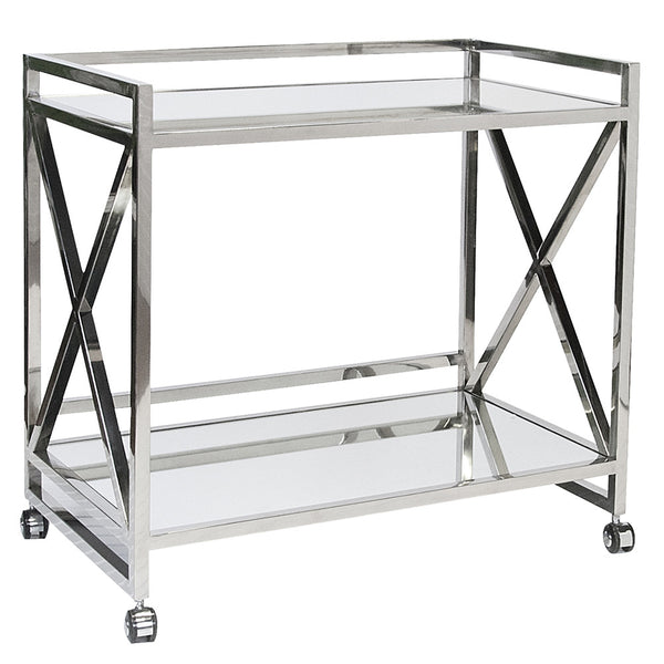 X-Frame Bar Cart – Polished Stainless Steel