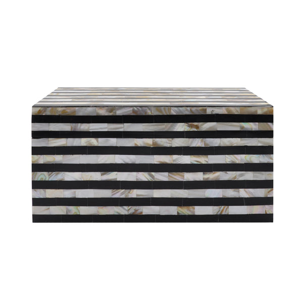 Worlds Away Decorative Box in Black Resin and Faux Mother of Pearl