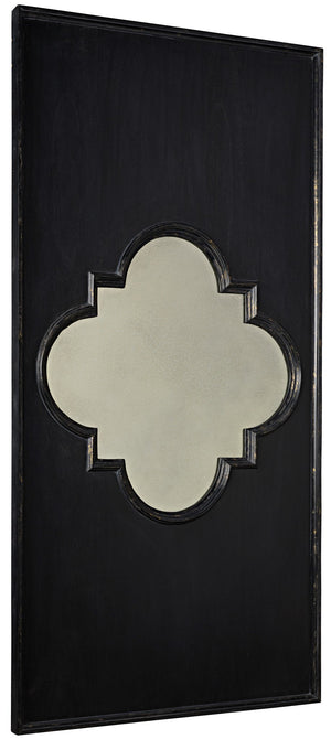 Noir Good Luck Mirror - Hand Rubbed Black w/ Gold Trim