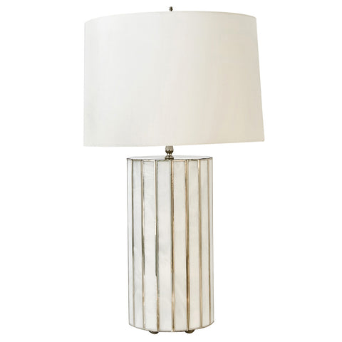 Worlds Away Large White Glass Table Lamp with Silver Accents