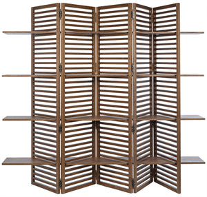 Noir Haru Slatted Screen with Shelves - Dark Walnut