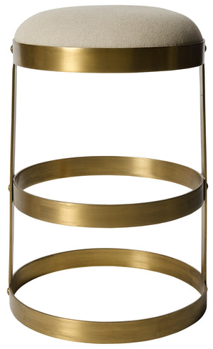 Noir Dior Round Counter Stool - Brass