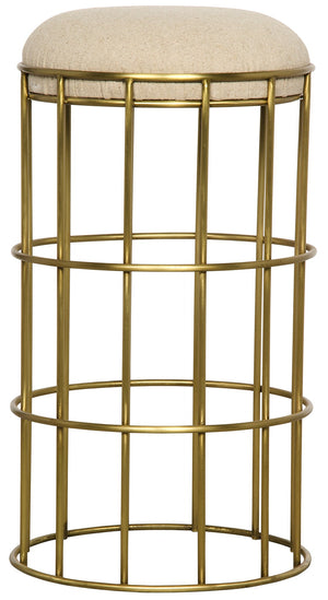Noir Ryley Metal Counter Stool - Gold Finish