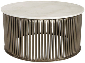 Noir Lenox Round Coffee Table - Silver with Quartz Top
