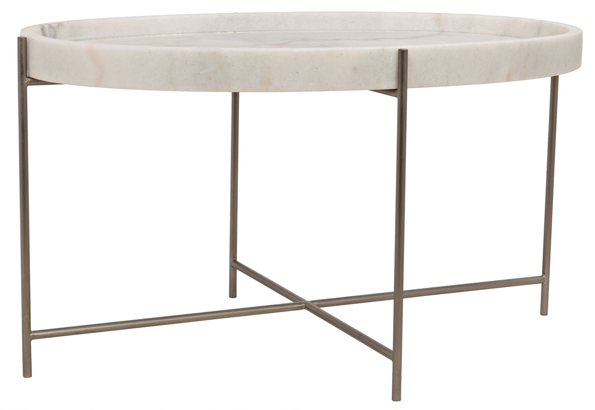 Noir Che Cocktail Table - Antique Silver - Metal and Stone