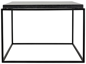 Noir Lomax Coffee Table - Black Metal Finish with Black Stone
