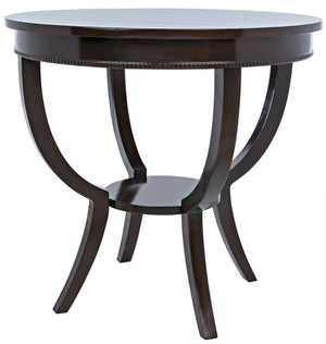 Noir Scheffield Round End Table - Distressed Brown