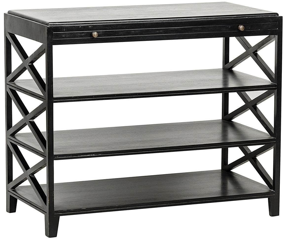 Noir Sutton Criss-Cross Table - Hand Rubbed Black