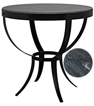 Noir Byron Side Table - Black Metal with Marble