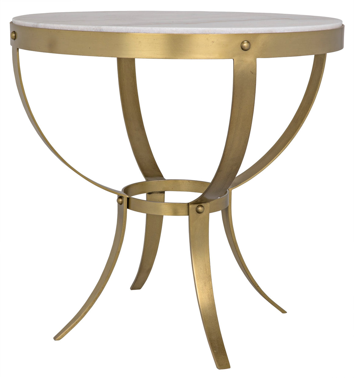 Noir Byron Side Table - Antique Brass and Stone