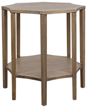 Noir Ariana Octagonal Side Table - Washed Walnut