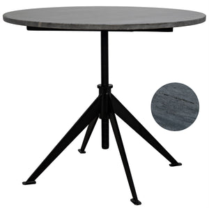Noir Matilo Adjustable Table - Black Metal Metal Base with Marble Top