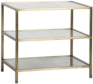 Noir 3 Tier Mirrored Side Table - Antique Brass
