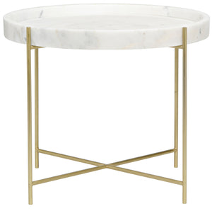 Noir Chuy Marble Side Table - Antique Brass
