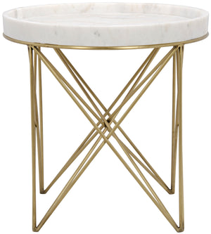 Noir Prisma Side Table - Metal and Quartz