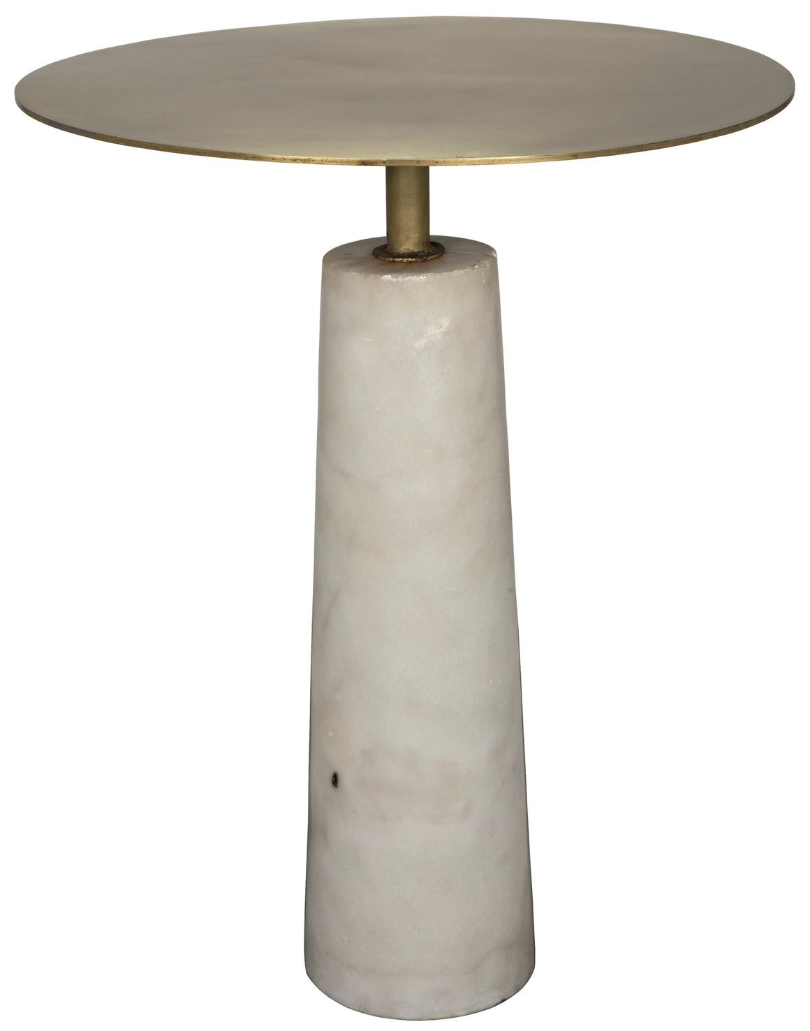 Noir Hotaru Side Table - White Marble and Antique Brass