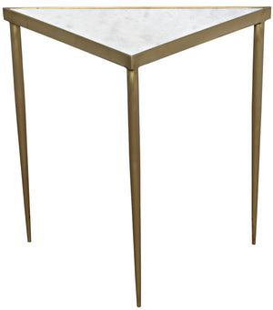 Noir Comet Large Triangle Side Table - Brass
