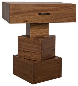 Noir Grobius Blocks Side Table - Walnut