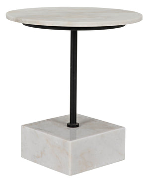 Noir Rodin Side Table - Black Metal with White Marble