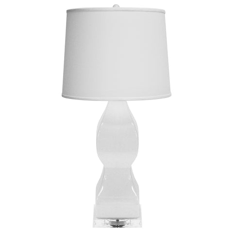 Worlds Away Glam Ceramic Table Lamp with Acrylic Base – White