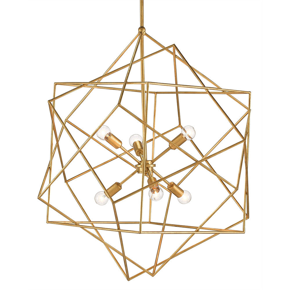 Currey and Company Geometric Sphere Chandelier – Antique Gold
