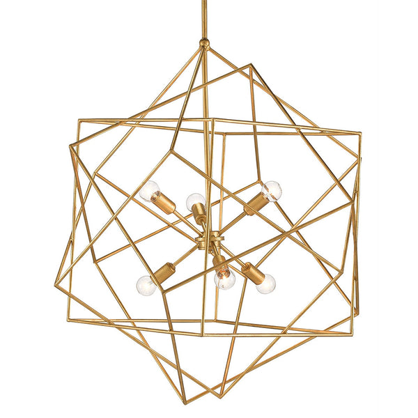 Geometric Brass Chandelier: Currey And Company Geometric Sphere Chandelier