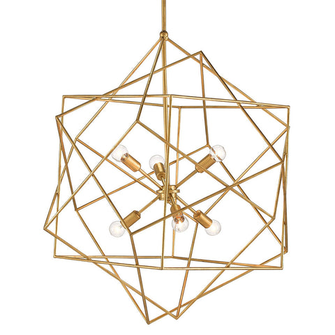 Geometric Sphere Chandelier – Antique Gold