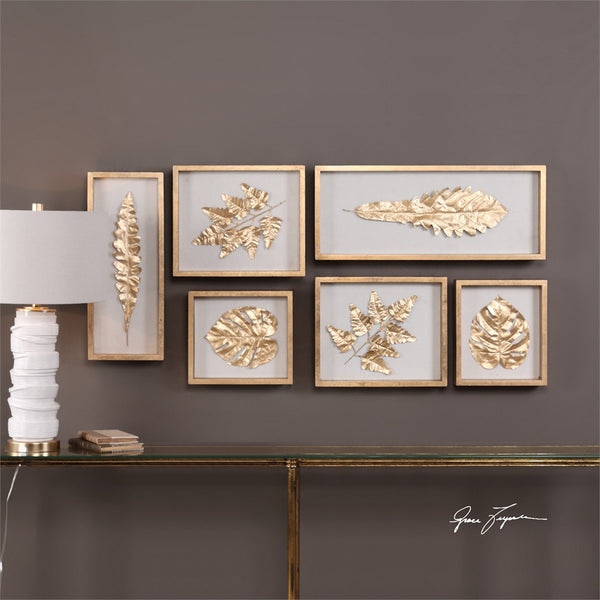 Gold Leaves Artwork – Set of 6