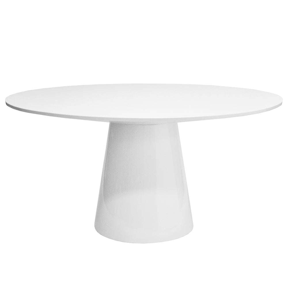 Worlds Away Hamilton Tapered Base Round Dining Table – White Lacquer
