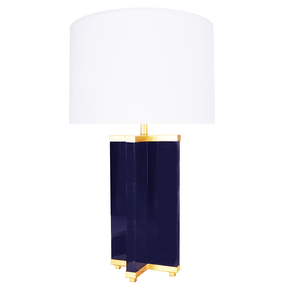 Worlds Away Cross Base Table Lamp with Gold Leaf Details – Navy