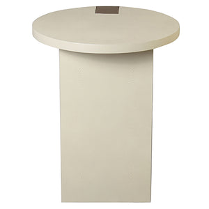 Worlds Away Harrington Round Accent Table with Antique Brass Base – Cream Shagreen